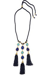 Ben Amun Braided Cord Stone And Gold Tone Necklace Blue