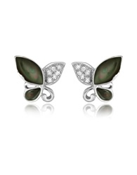 Del Gatto Diamond Gemstone Butterfly 18K Gold Earrings Black Mother Of Pearl