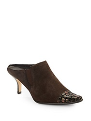 Donald J Pliner Lope Crocodile Embossed Patent Leather And Suede Mules Bronze