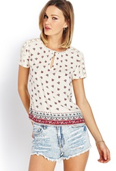 Forever 21 Boho Crochet Floral Top Cream Red