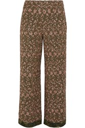 Etro Embroidered Crepe Wide Leg Pants Army Green