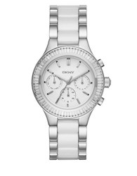 Dkny Stainless Steel And Ceramic Watch Silver White