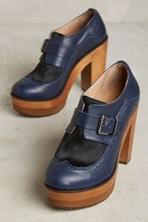 Anthropologie Cubanas Wave Buckle Platforms Navy