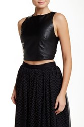 Alice Olivia Lorita Cropped Fitted Leather Tank Black