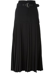 Diesel Black Gold Belted Accordion Pleat Skirt Black
