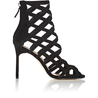 Manolo Blahnik Women's Vagibuzip Caged Booties Black