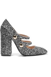 N 21 No. Glittered Leather Pumps Silver