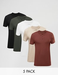 Asos 5 Pack Muscle Polo Shirt Multi