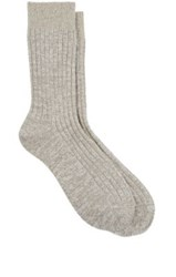 Maria La Rosa Women's Metallic Trim Mid Calf Socks Ivory