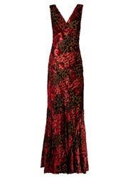 Etro V Neck Velvet Fil Coupe Gown Red Multi