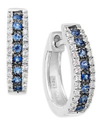 Macy's 14K White Gold Sapphire 1 4 Ct. T.W. And Diamond 1 8 Ct. T.W. Hoop Earrings