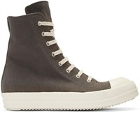 Rick Owens Drkshdw Grey Canvas High Top Sneakers