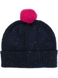 Paul Smith Pom Pom Speckled Beanie Blue