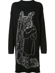 Yohji Yamamoto Embroidered Long T Shirt Black