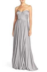 Women's Jenny Yoo 'Demi' Convertible Strapless Pleat Jersey Gown Riverstone