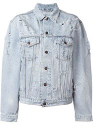 Forte Couture 'Marilyn' Back Glitter Panel Distressed Denim Jacket Blue