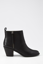 Forever 21 Zippered Faux Leather Booties Black
