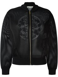 Stella Mccartney Mesh Crew Bomber Jacket Black