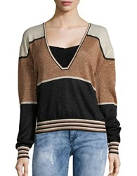 Free People Metallic Sparkle V Neck Sweater Gold White Black