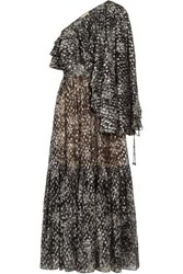Michael Kors Collection Metallic Fil Coupe Silk Blend Chiffon Maxi Dress Dark Gray