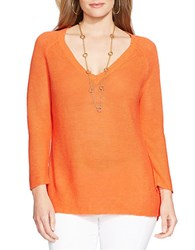 Lauren Ralph Lauren Plus Linen V Neck Sweater Bangle Orange