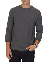 Nautica Long Sleeve Cotton Blend T Shirt Charcoal