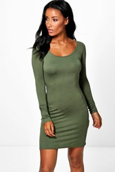 Boohoo Long Sleeve Scoop Neck Bodycon Dress Khaki