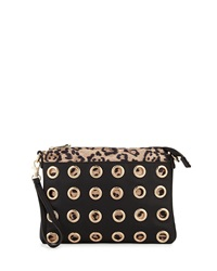 Urban Originals Flame Leopard Print And Leather Grommet Clutch Black