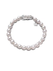 Mikimoto 6.5Mm 7Mm White Cultured Akoya Pearl And 18K White Gold Strand Bracelet