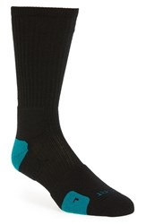 Nike Men's 'Elite Basketball' Crew Socks Black Rio Teal