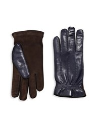 Brunello Cucinelli Lambskin Leather And Suede Gloves Navy