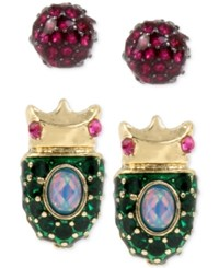 Betsey Johnson Gold Tone 2 Pc. Set Pave Beetle And Pink Crystal Stud Earrings
