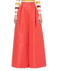 Carolina Herrera Full Wide Leg Sateen Pants Red
