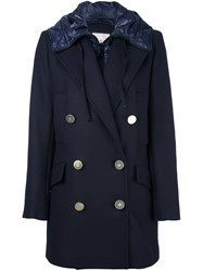 Moncler 'Galatea' Hooded Coat Blue
