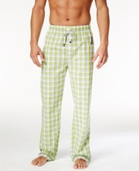 Psycho Bunny Men's Woven Graphic Print Logo Pajama Pants Macaw Green