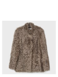 Paul Smith Women's Taupe Short Shearling Sheepskin Coat Brown
