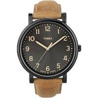 Timex Originals Classic Round Watch Black And Tan Leather