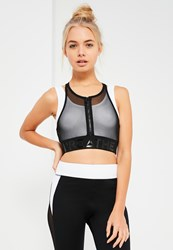 Missguided Active Black Double Layer Mesh Sports Bra