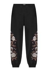 Alexander Mcqueen Embroidered Cotton Sweatpants Black