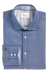 Ted Baker Men's Big And Tall London Trim Fit Diamond Dress Shirt Navy