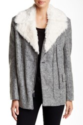 Kenneth Cole Moto Faux Fur Trim Coat Gray
