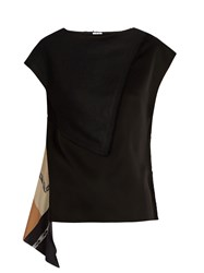 Loewe Asymmetric Scarf Panel Satin And Linen Top Black