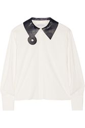 J.W.Anderson Leather Trimmed Crepe Shirt