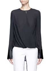 Rag And Bone 'Max' Drape Wrap Front Silk Blouse Black