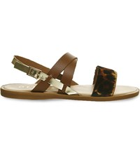 Office Bali Leather And Cowhair Sandals Tan Leather Leopard