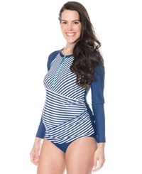 Motherhood Maternity Long Sleeve Zipper Front Striped Swim Top