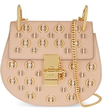 Chloe Drew Small Leather Ring Stud Shoulder Bag Blush Nude