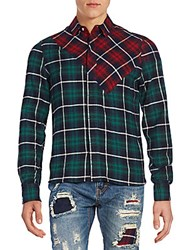 Mostly Heard Rarely Seen Hay Woven Plaid Shirt Red Green