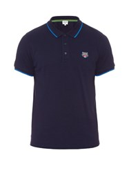 Kenzo Tiger Head Embroidered Cotton Polo Shirt Navy