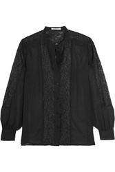 Rebecca Minkoff Riot Chiffon And Cotton Blend Lace Shirt Black